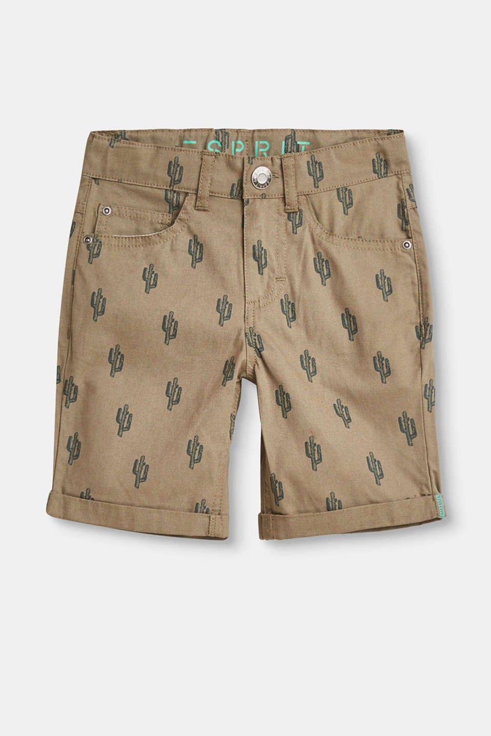 Esprit - Cotton shorts with a cactus print