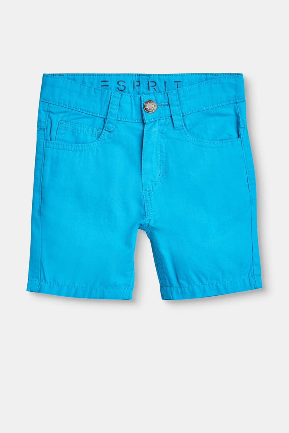 Esprit - Cotton shorts with an adjustable waistband