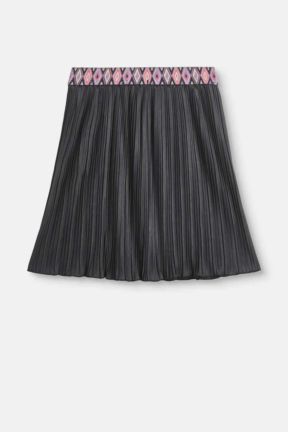 Pleated skirt with a decorative elasticated waistband