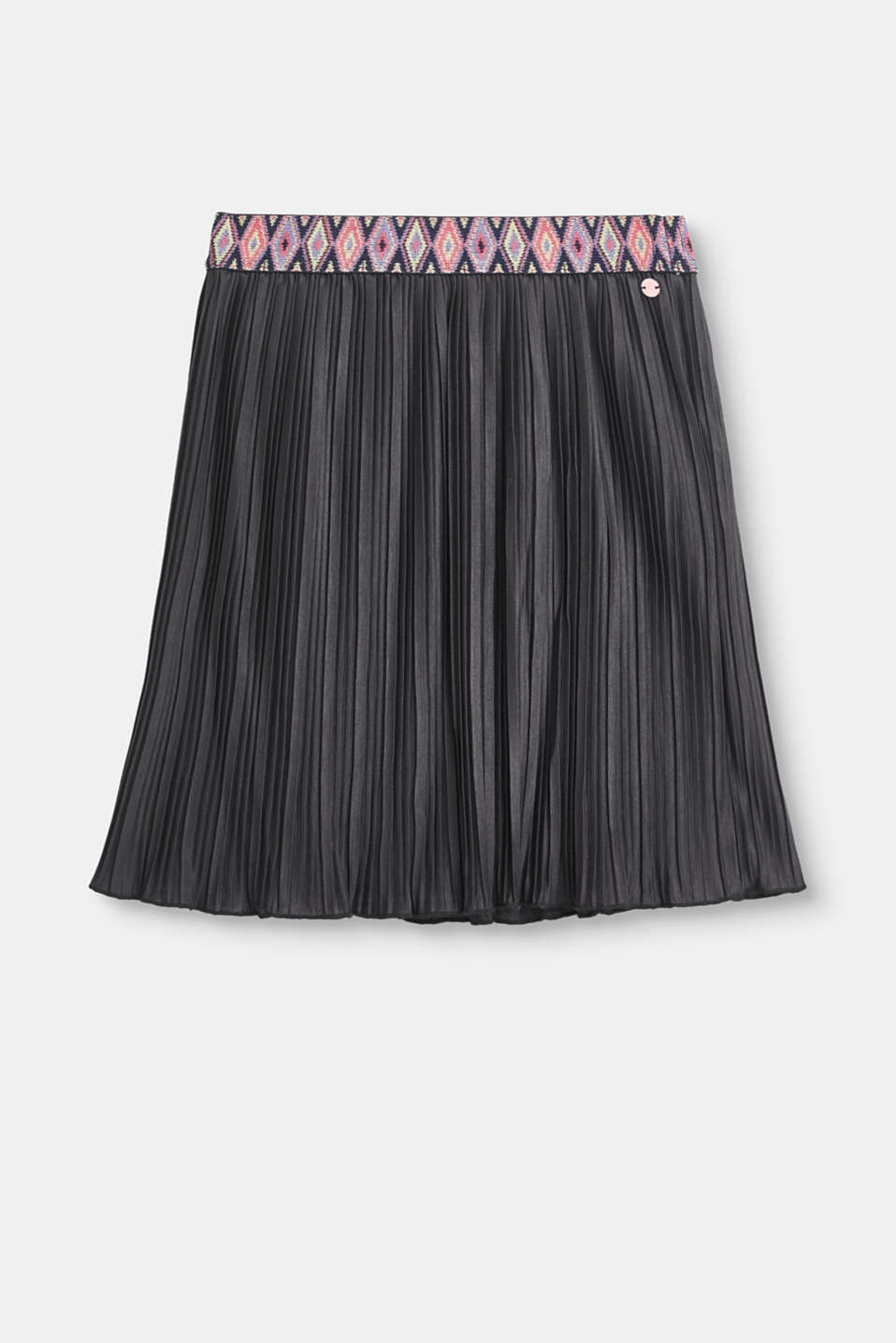 Esprit - Pleated skirt with a decorative elasticated waistband