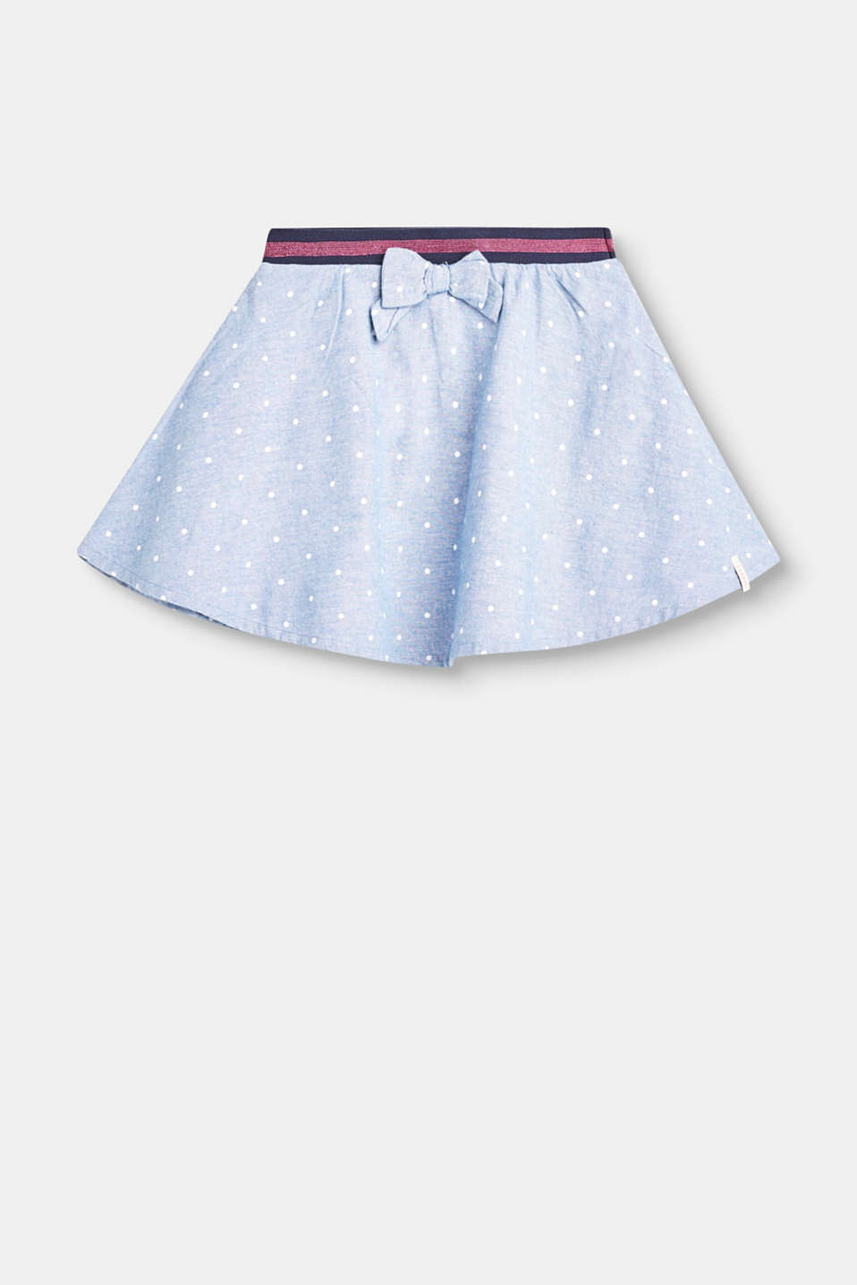 This flared chambray skirt with a polka dot print gets little girls hearts racing before you know it.