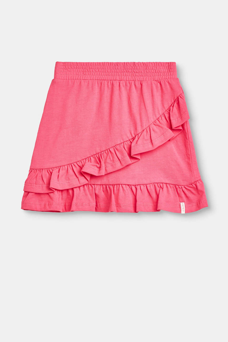 Esprit - Cotton skirt, elasticated waist + flounces