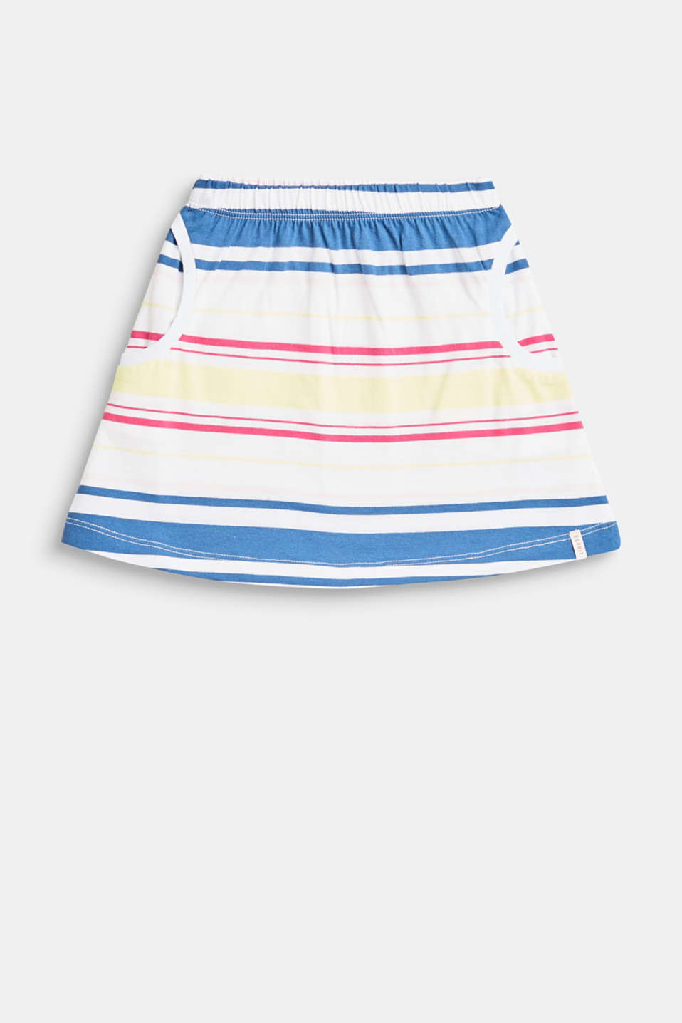 Esprit - Striped skirt with an elasticated waistband, 100% cotton