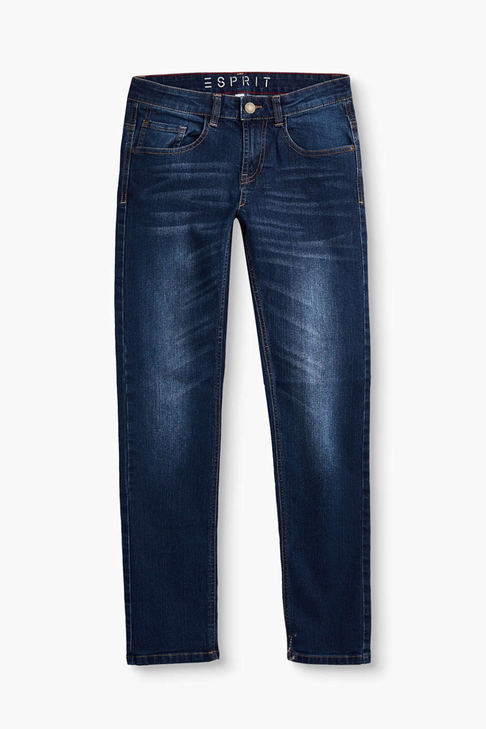 They are extremely versatile and grow apace over time: these coolly washed jeans with an adjustable waistband.
