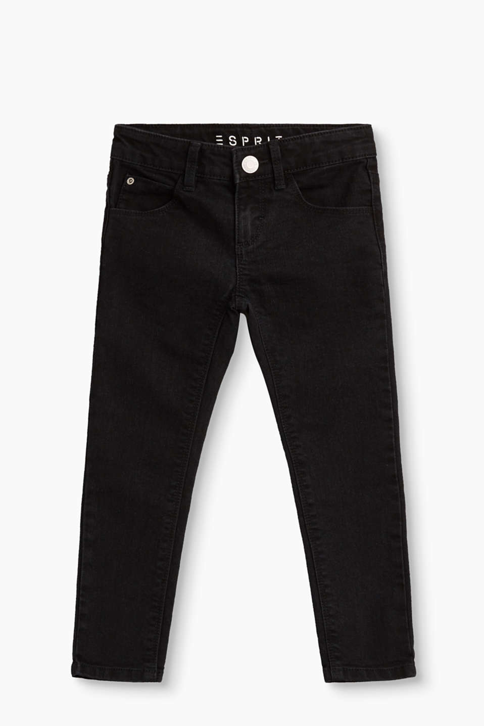 These basic black jeans are very versatile to mix and match. In a five-pocket design with a practical, adjustable waistband.