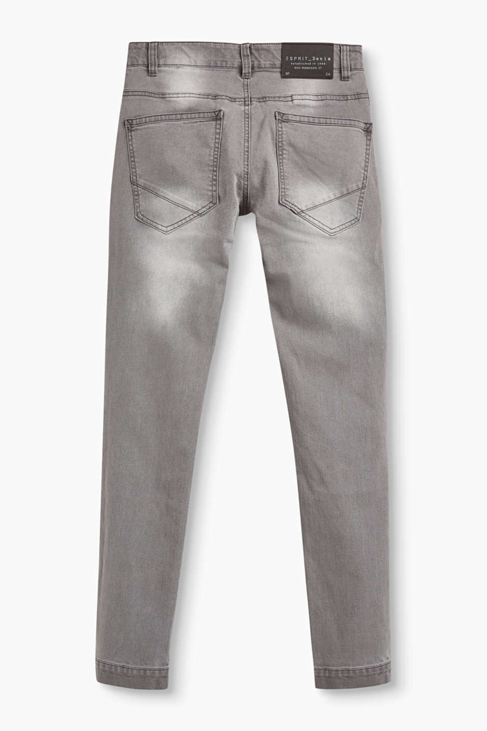 Grey stretch jeans, adjustable waist
