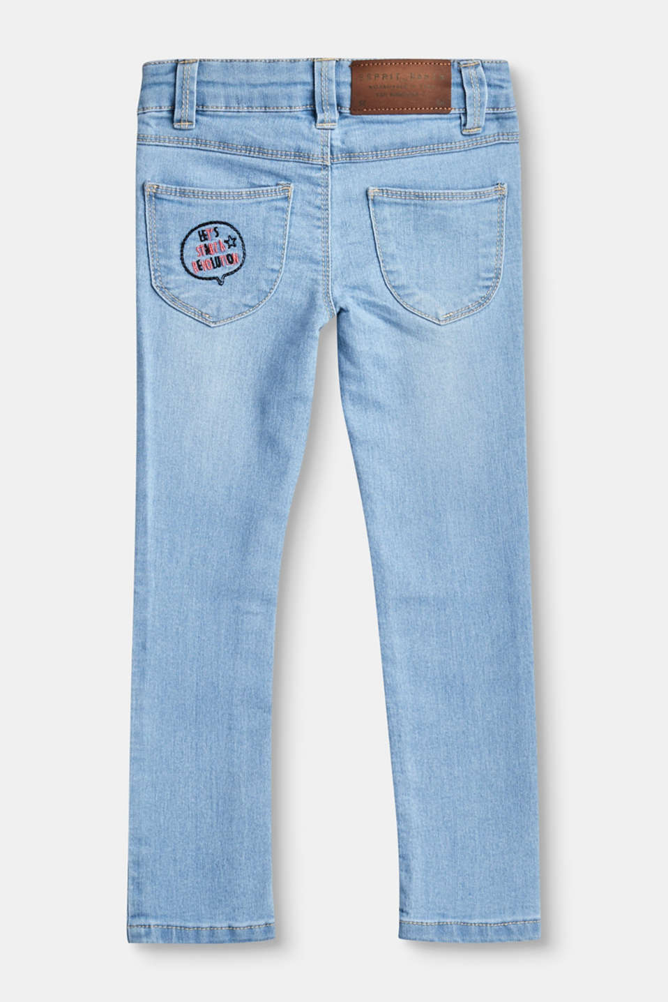 Embroidered stretch jeans, adjustable waist
