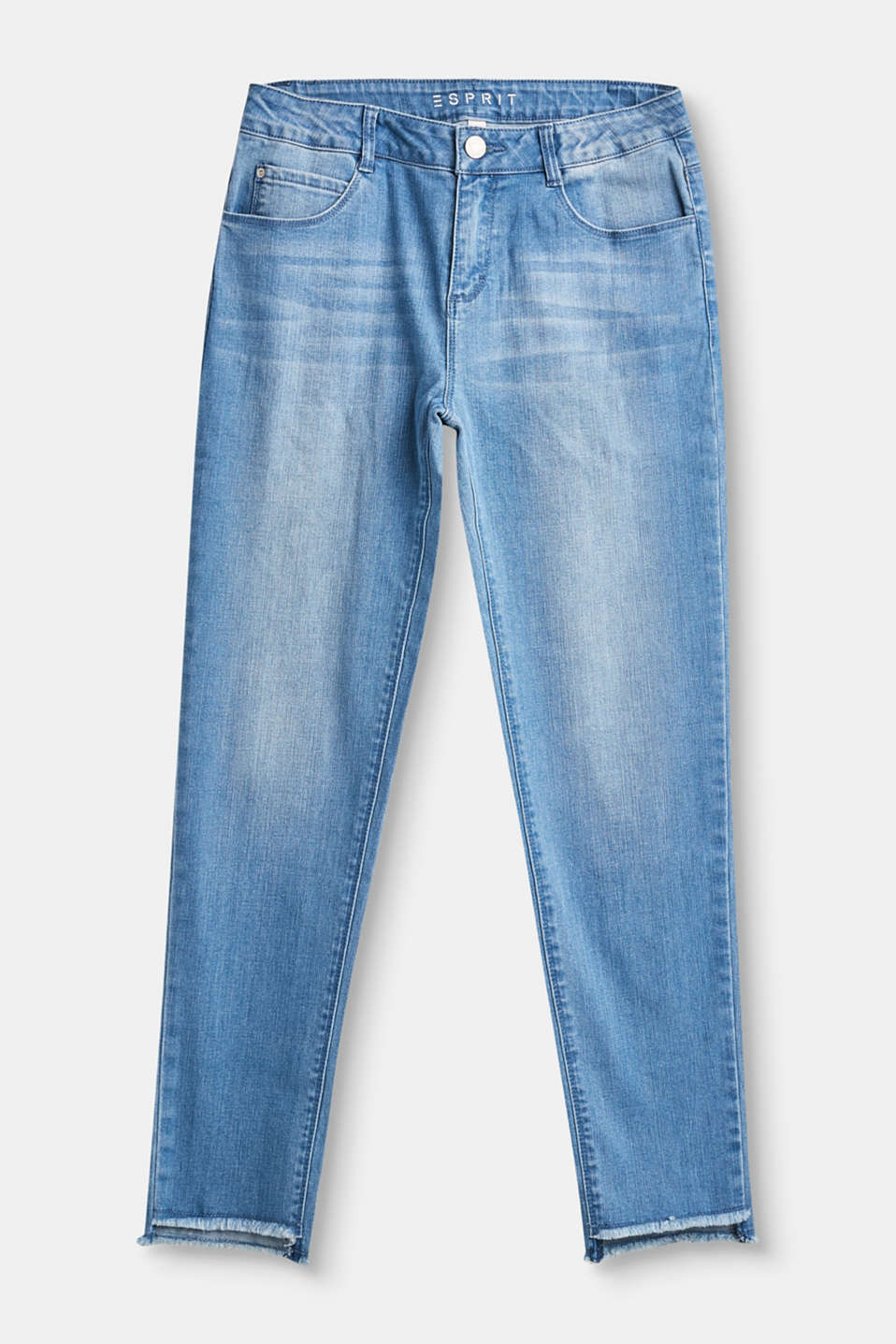 Esprit - Cropped high-waisted jeans + embroidery