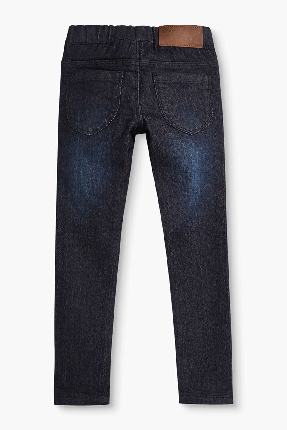 Jeggings i mörk denim med stretch