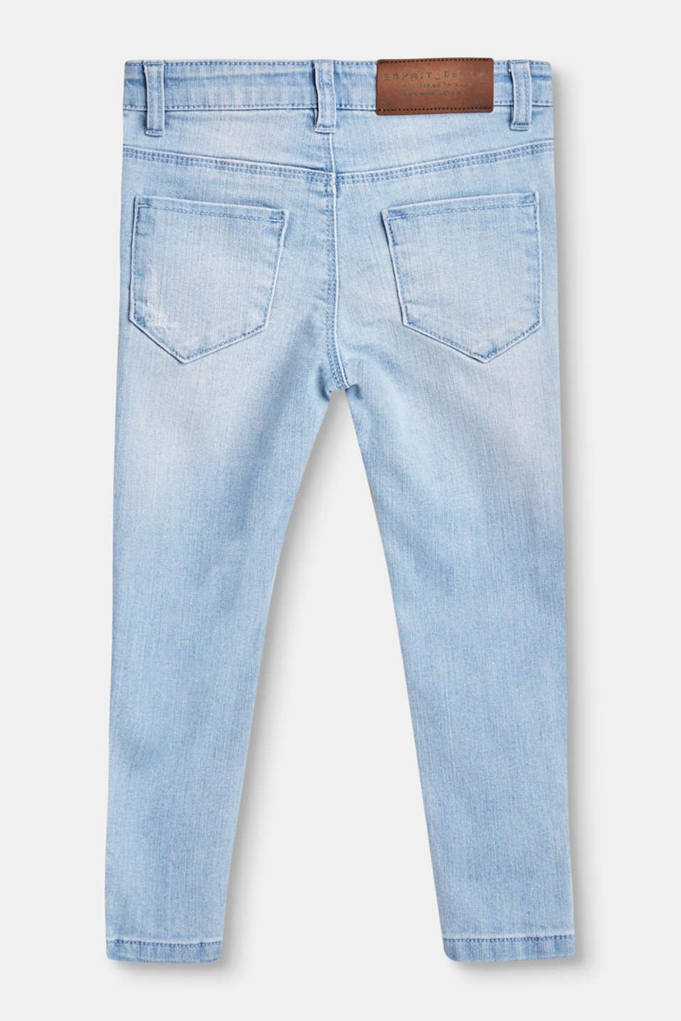 Cropped stretch jeans with hem zips