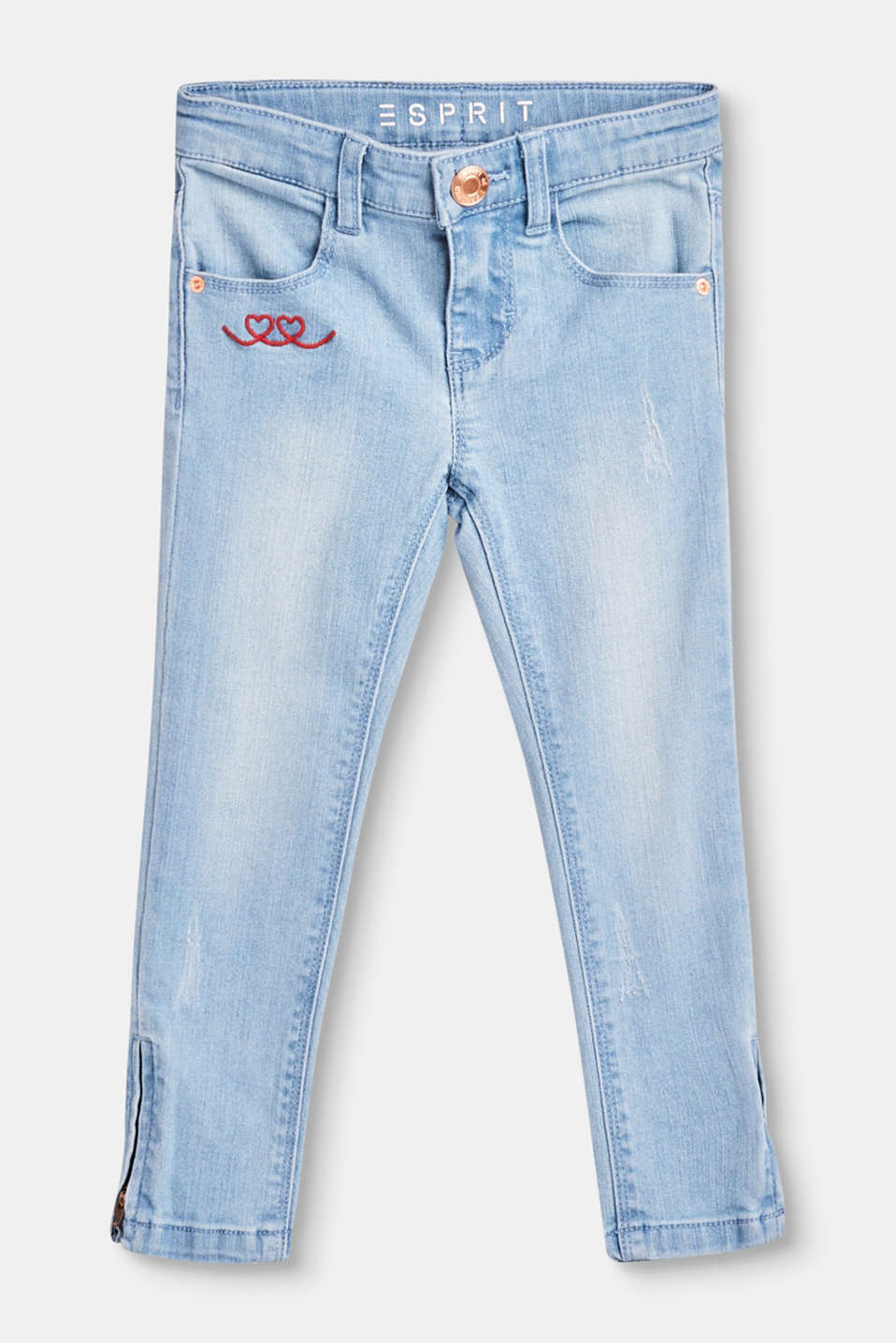 Esprit - Cropped stretch jeans with hem zips