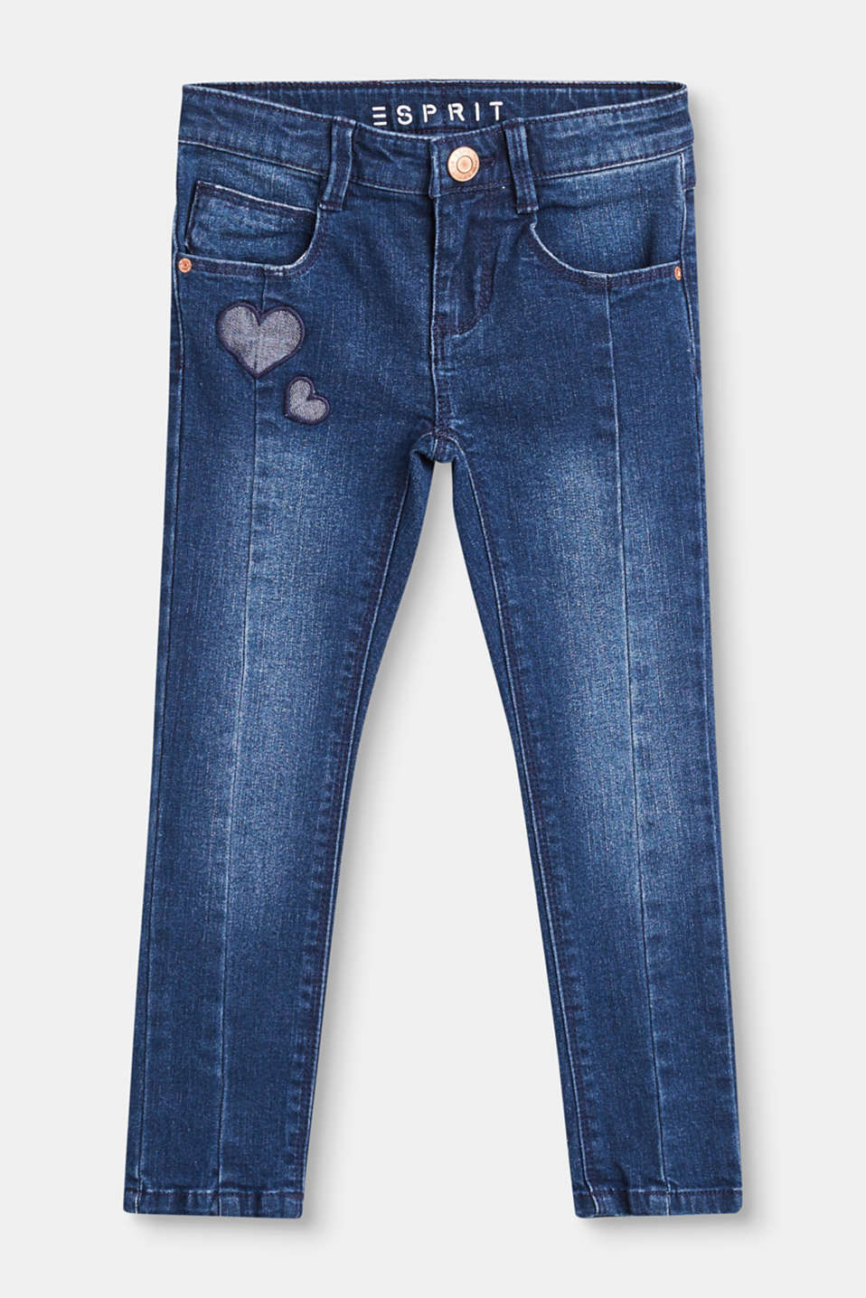 Esprit - Stretch jeans with heart appliqués
