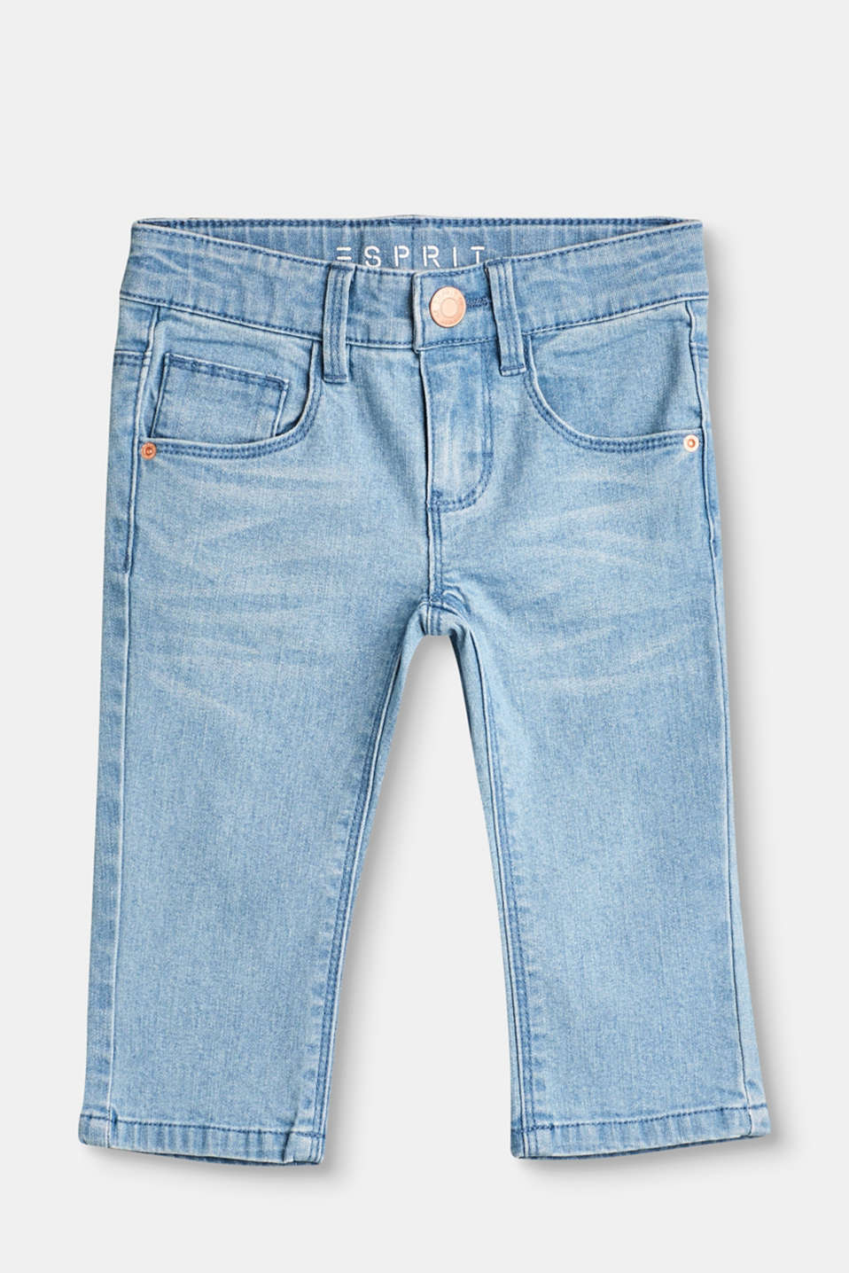 A great summer basic:  these soft stretch jeans in 3/4-length with a practical adjustable waistband