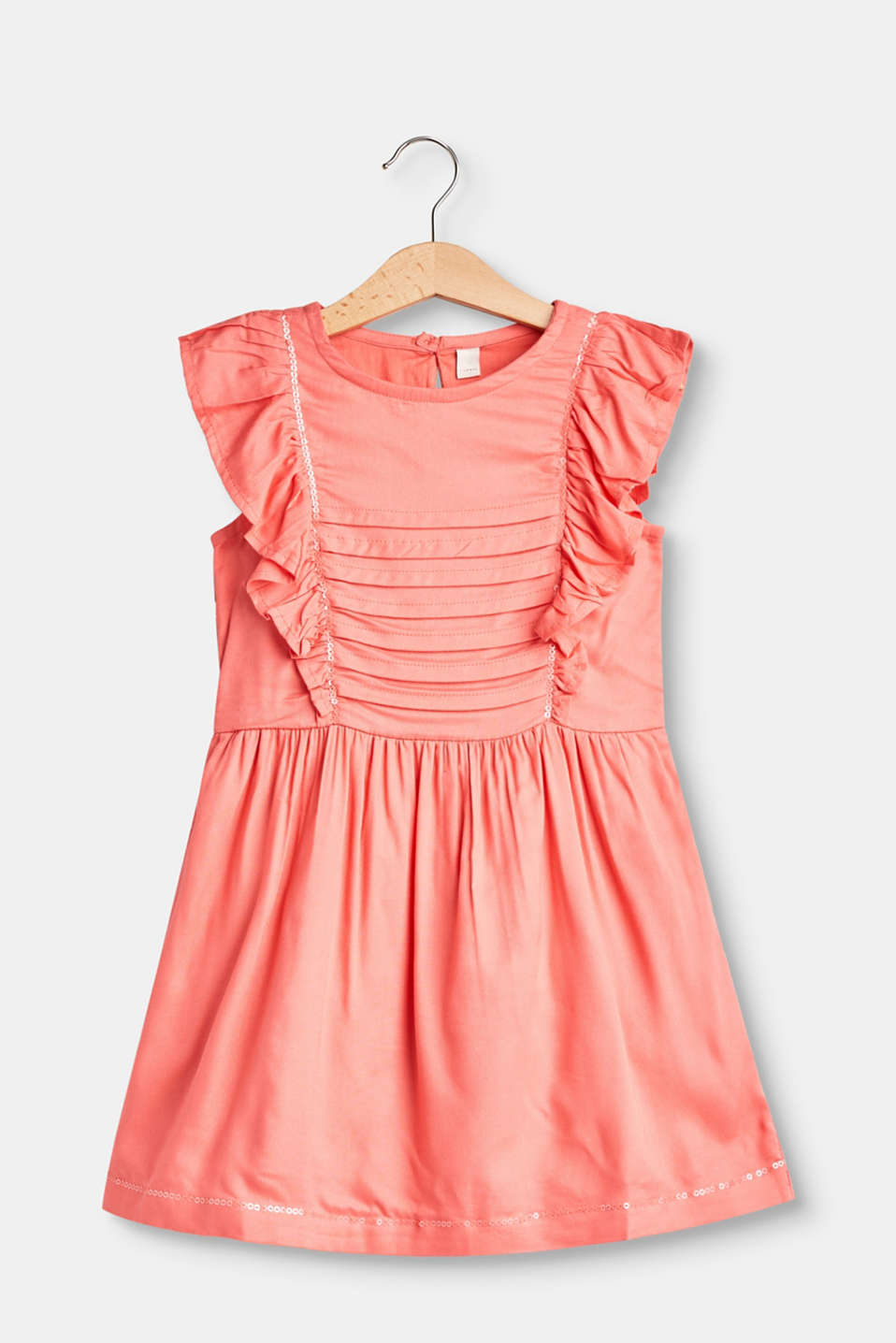 Frills, pin tucks and tonal sequins give this dress made of lightweight fabric its playful charm!