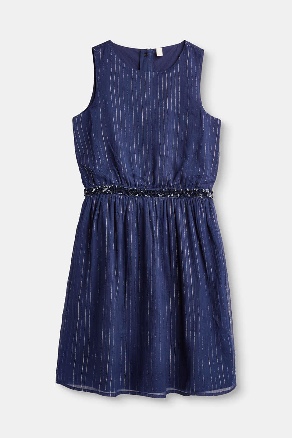 Esprit - Formal chiffon dress with lurex stripes