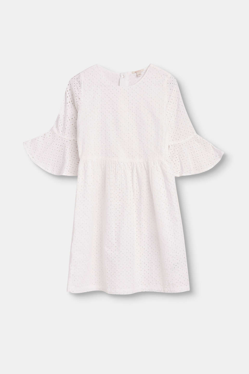 Esprit - Hippie dress with broderie anglaise, 100% cotton
