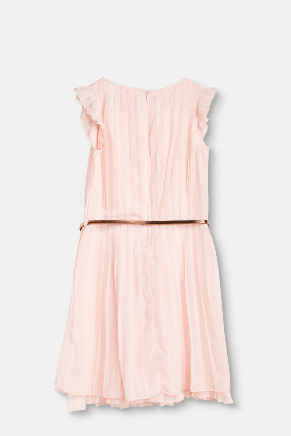 Pleated dress with a metallic belt in a girlish design