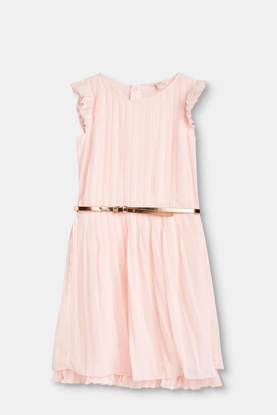 Esprit - Pleated dress with a metallic belt in a girlish design