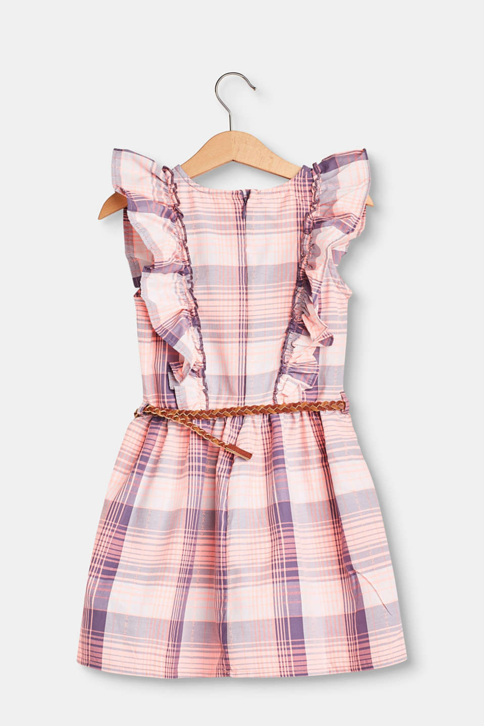 Checked dress with flounces and a belt