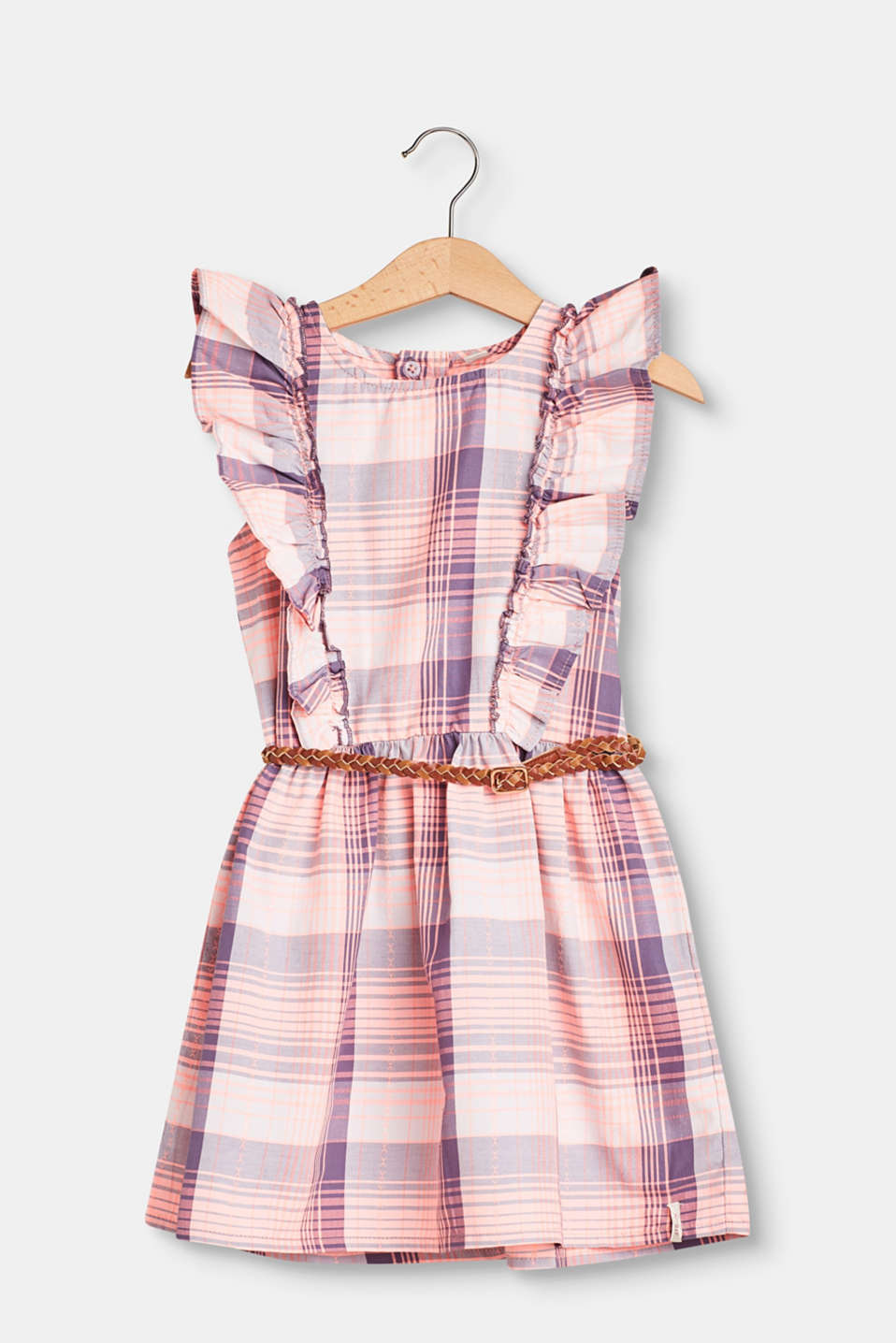 Esprit - Checked dress with flounces and a belt