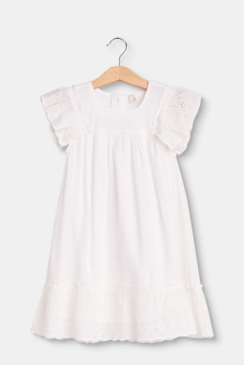 Esprit - Flared hippie dress with broderie anglaise