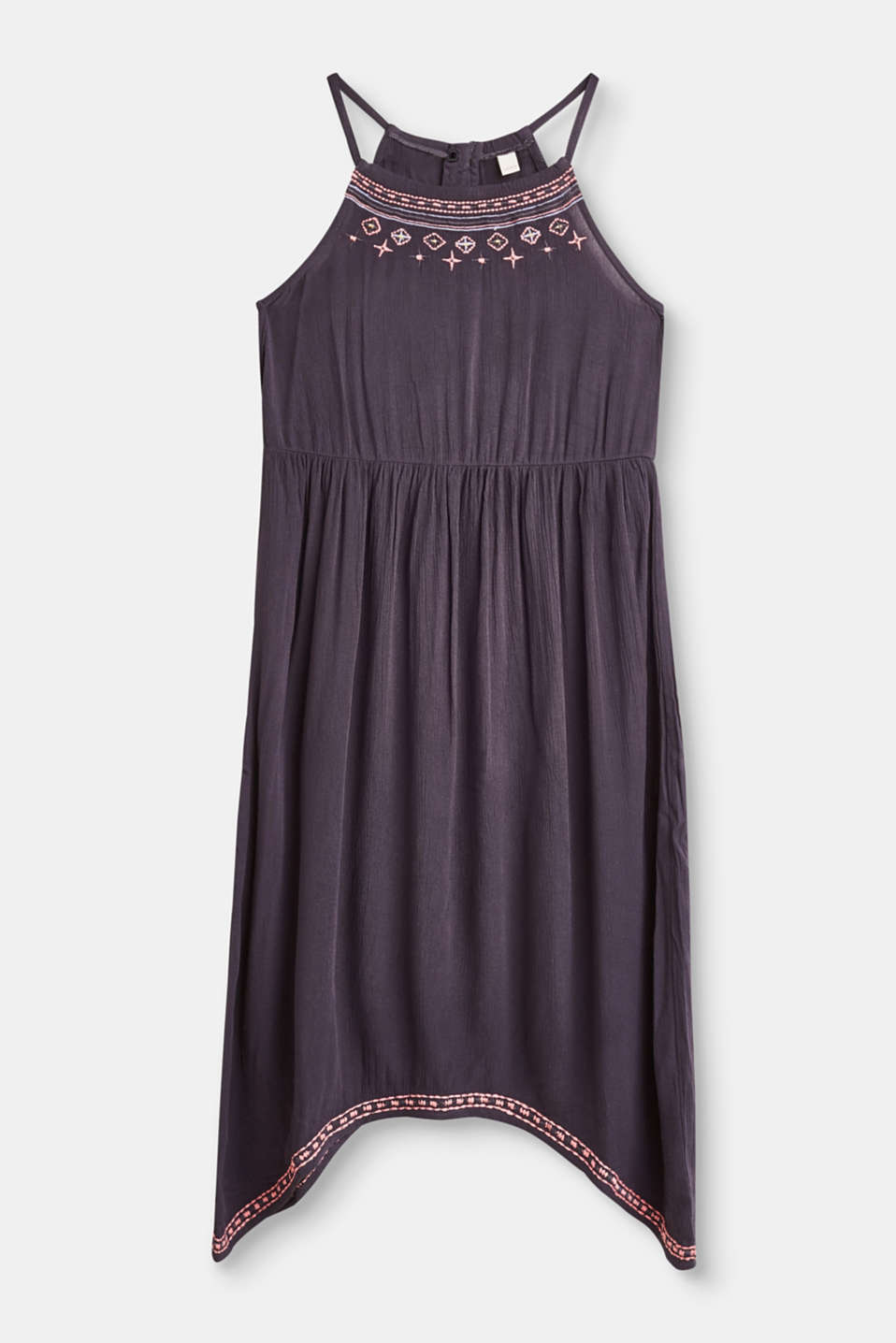 An airy highlight for trendy girls: halterneck dress in soft, crinkle woven fabric with an asymmetric hem and embroidery.