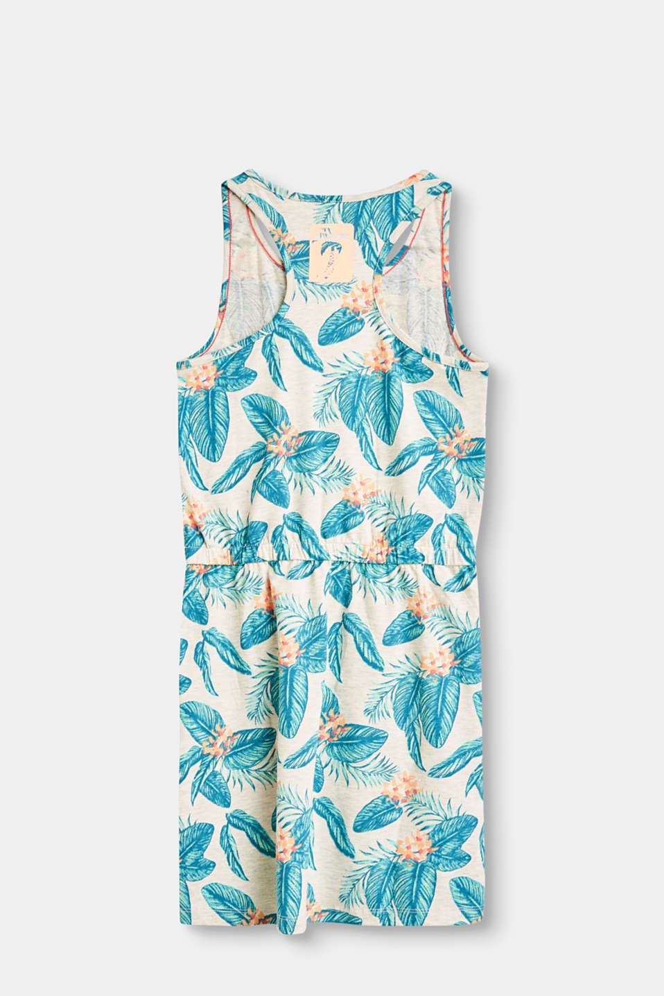 Melange T-shirt dress with print in blended cotton