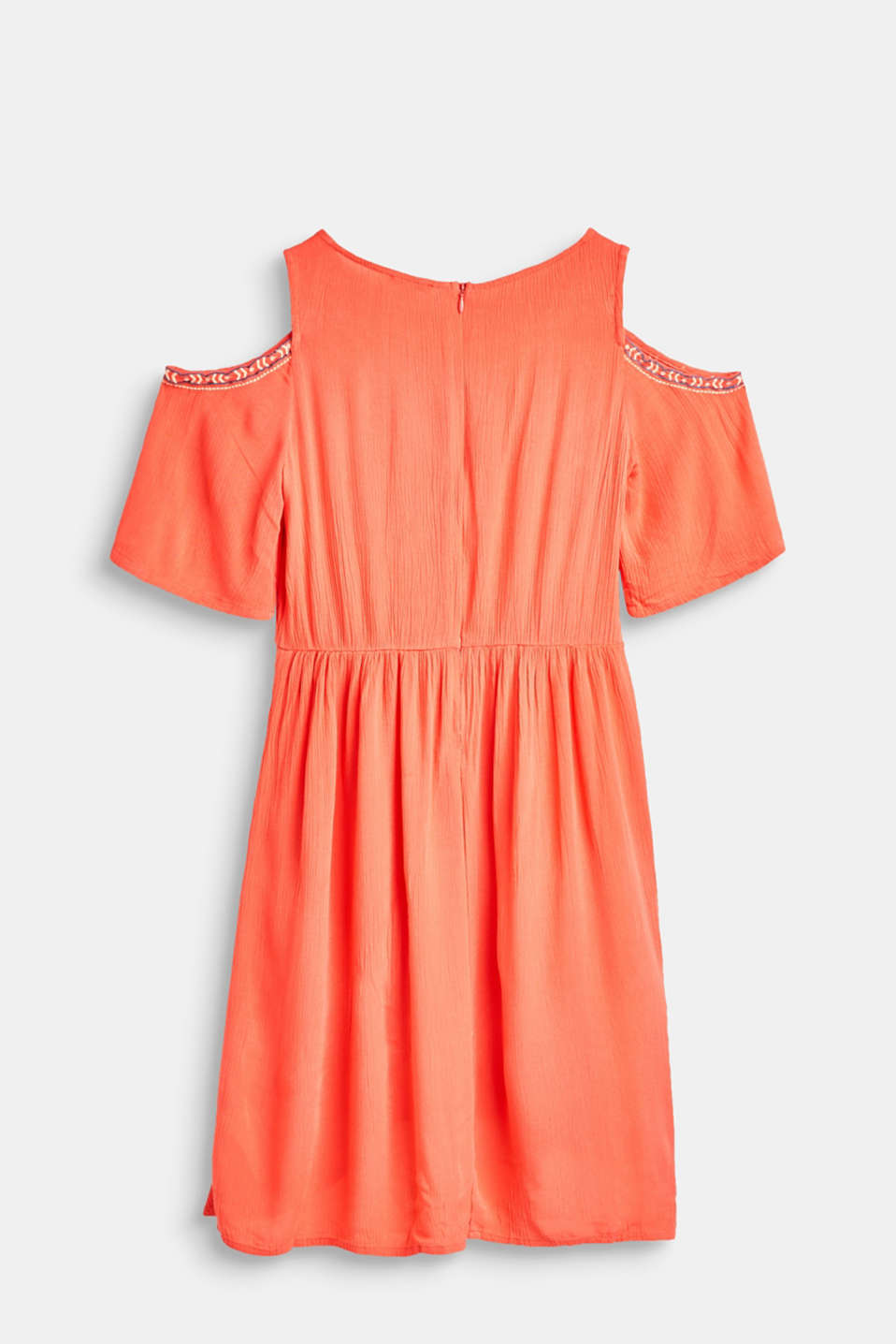 Crêpe cold-shoulder dress with embroidery