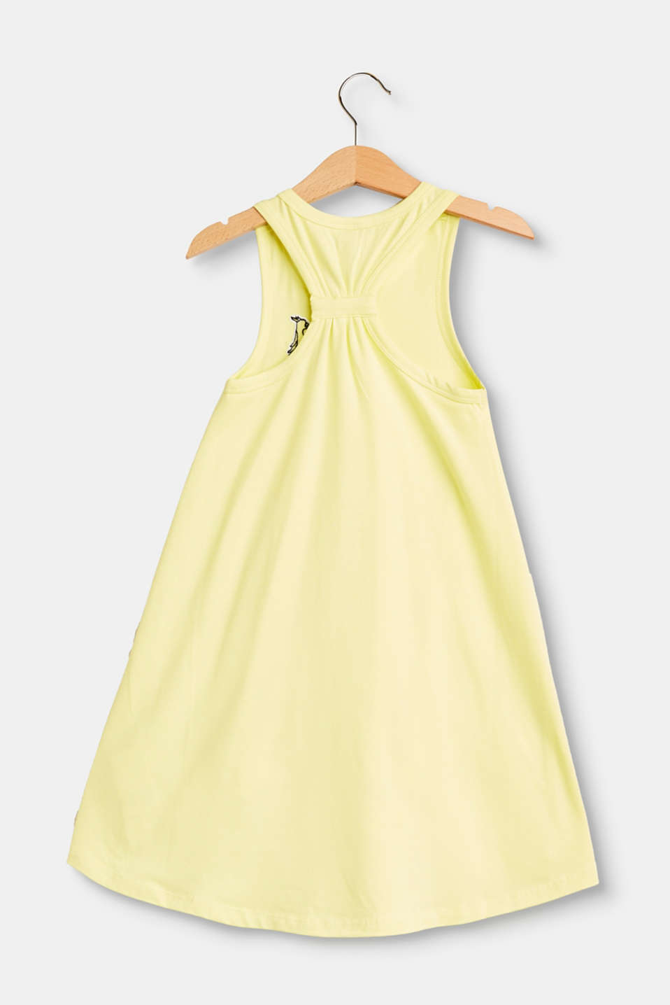 Appliquéd vest-style dress in stretch cotton