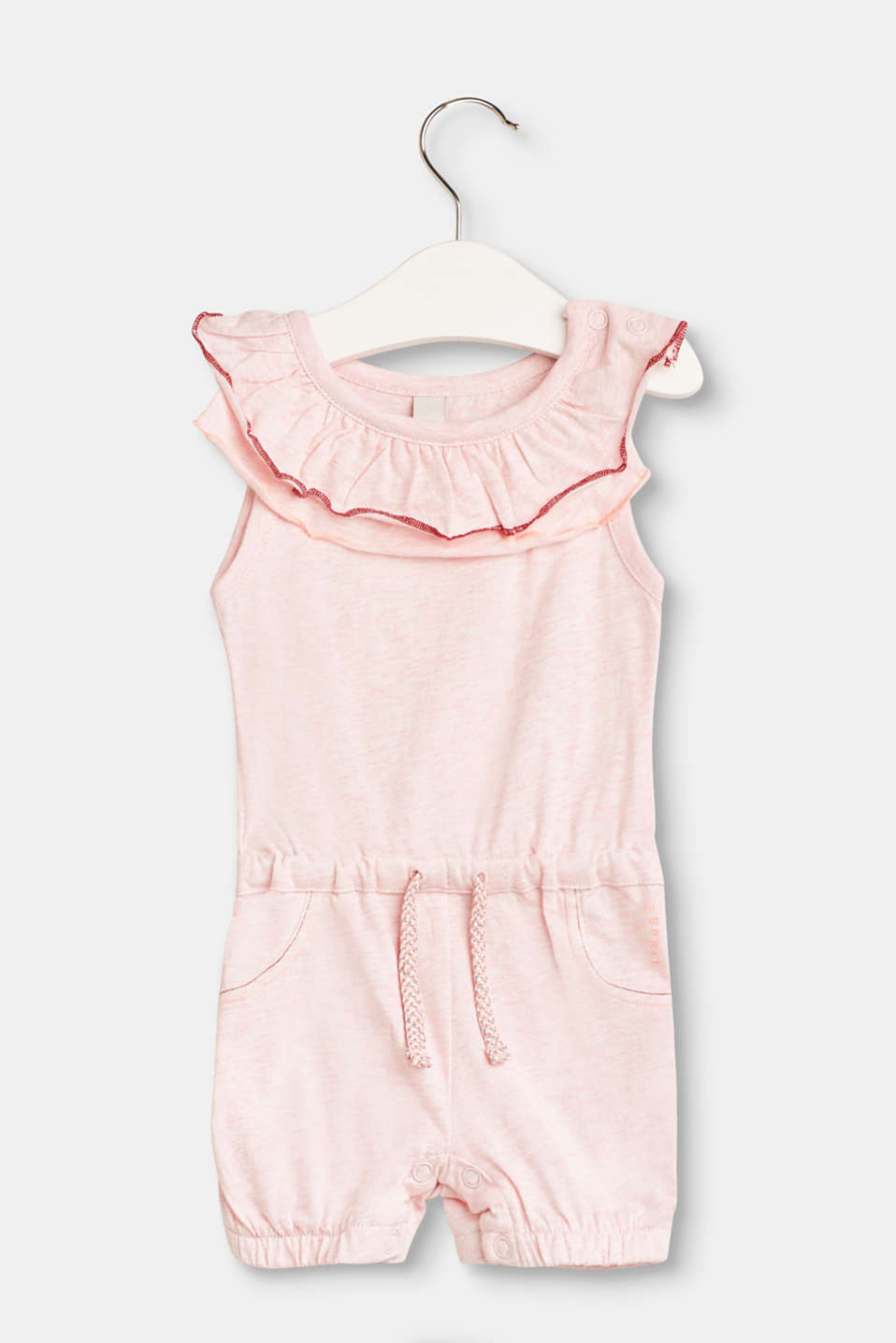 Esprit - Sleeveless cotton jumpsuit with frills