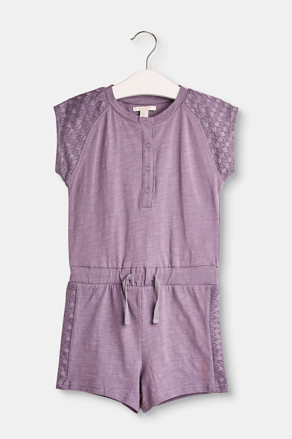 Esprit - Cotton-jersey jumpsuit with lace