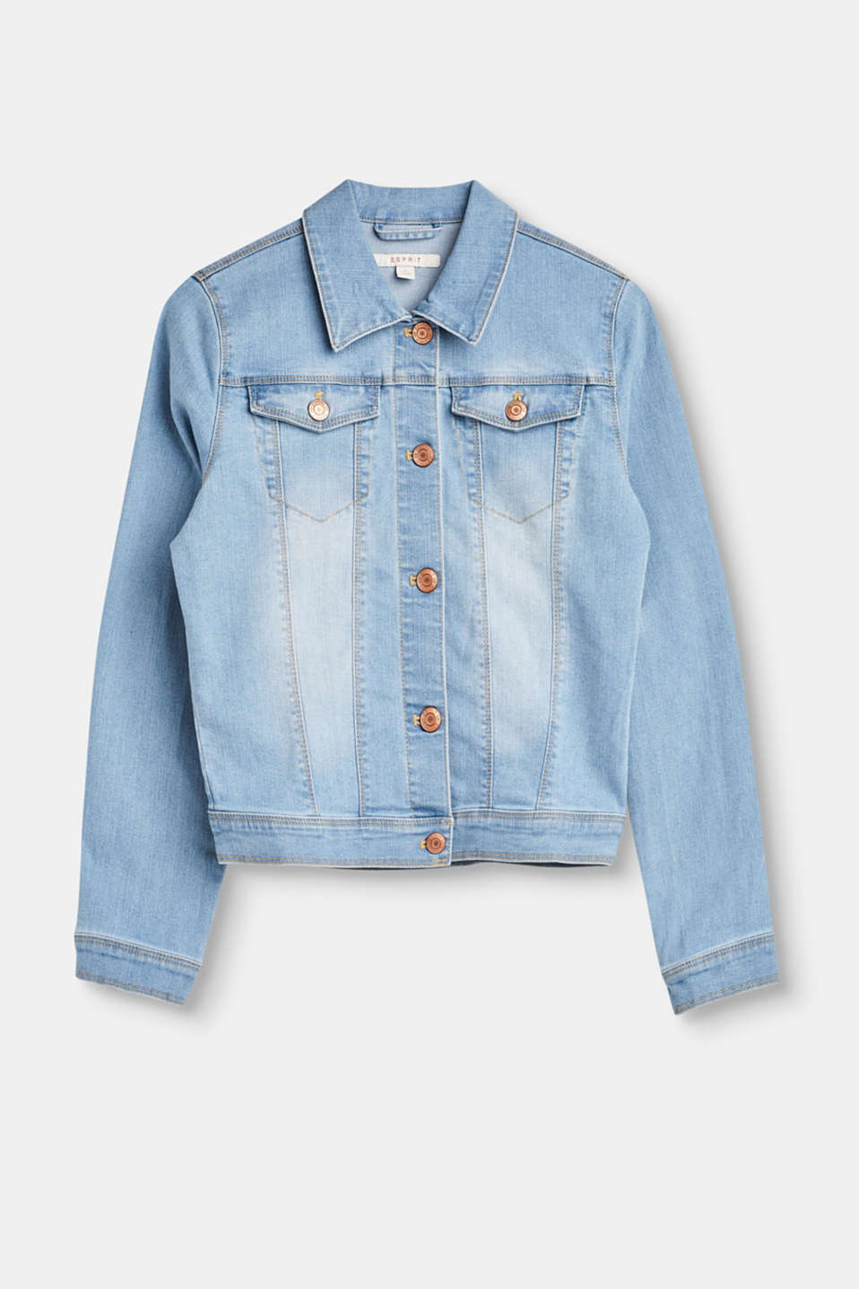This denim jacket in a pale wash with added stretch is just the right basic piece for light outfits for kids.