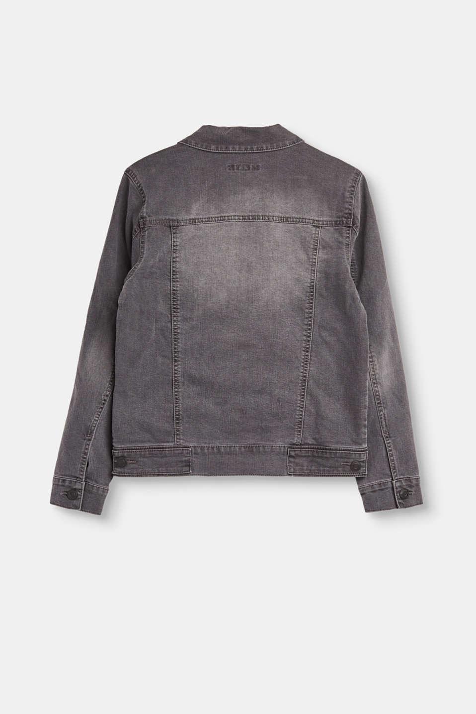esprit graue jeans jacke mit washed effekten im online shop kaufen. Black Bedroom Furniture Sets. Home Design Ideas