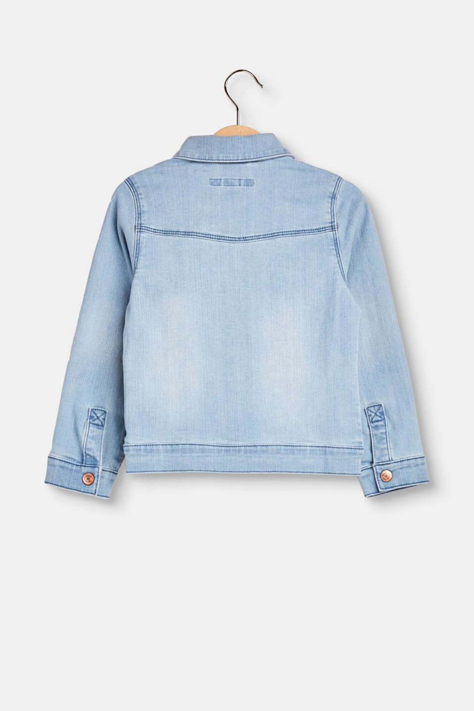 Denim jacket with frill detail
