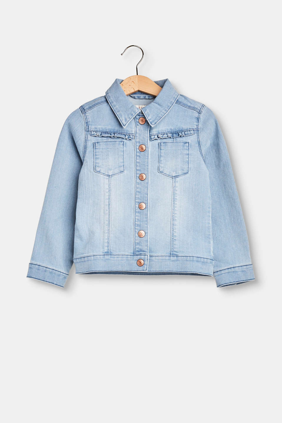 Esprit - Denim jacket with frill detail