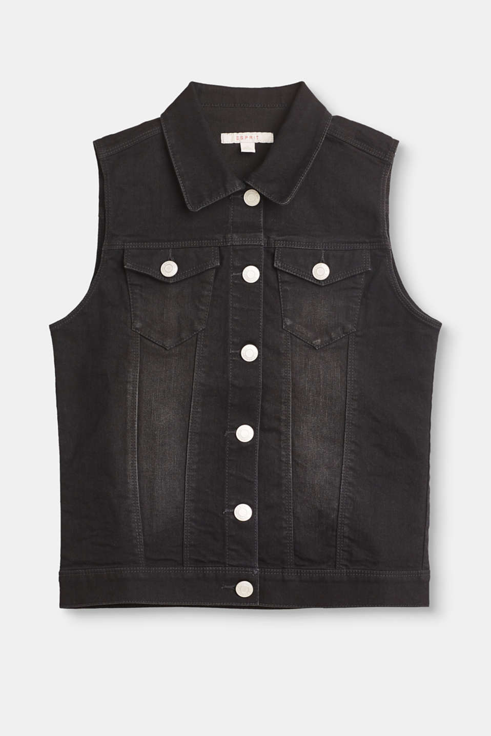 Esprit - Denim waistcoat in a stretch cotton blend
