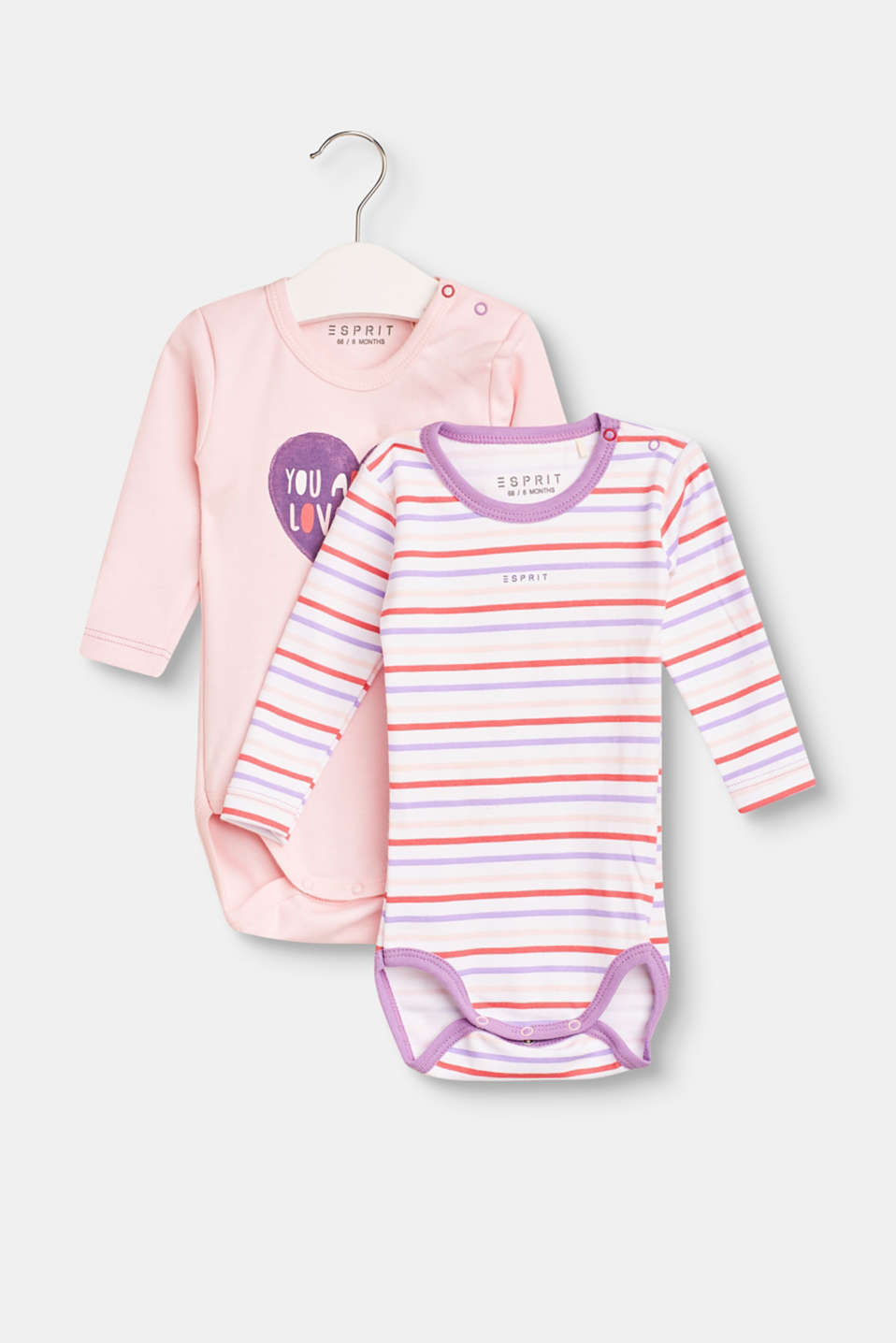 A genuine highlight for little baby girls: soft long sleeves bodies in a practical double pack with soft organic cotton.