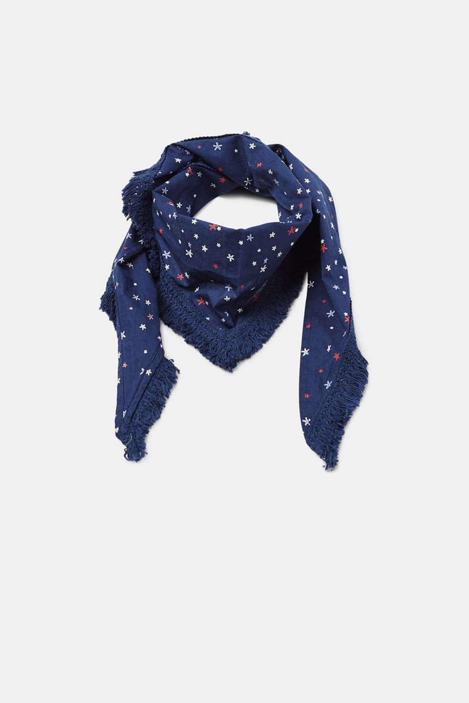 Esprit - Printed triangle scarf + frayed border