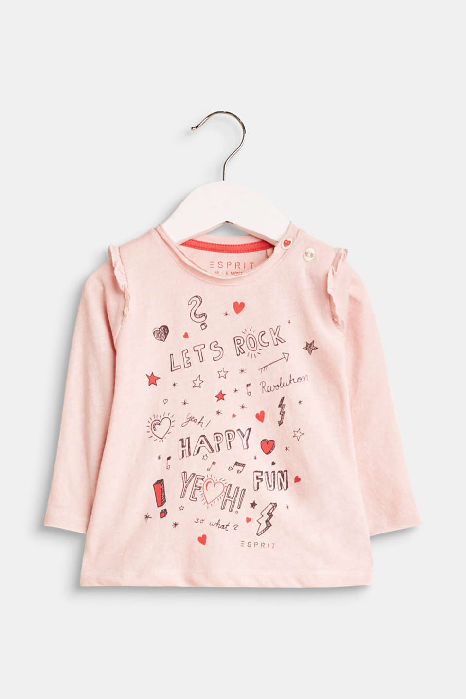 Perfect for the little ones to make a big appearance! This cute long sleeve top with flounces makes modern statements thanks to the cool print.