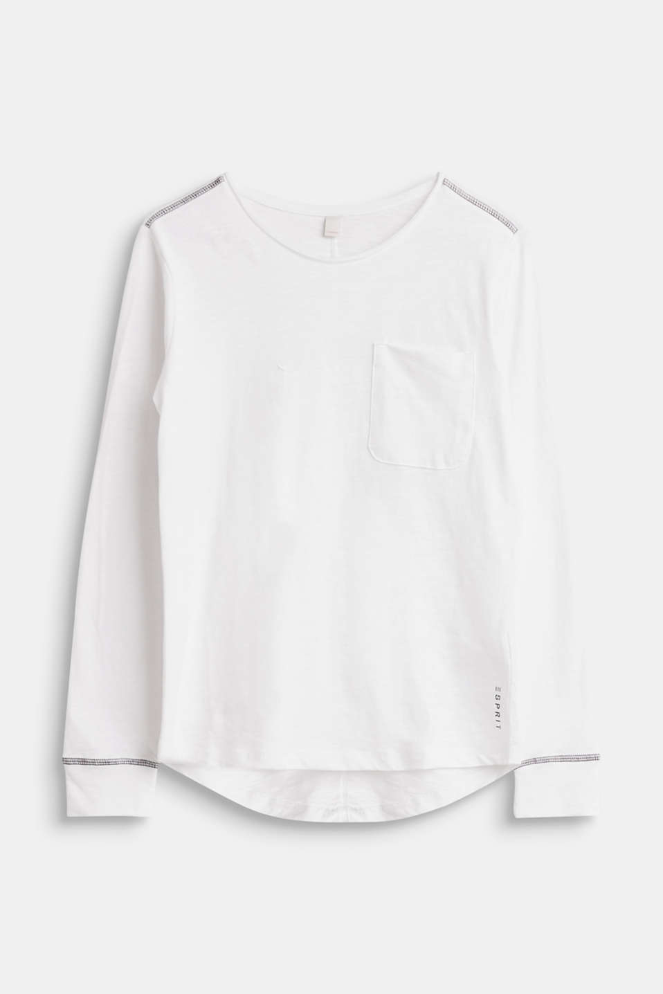 Esprit - Long sleeve slub top with a breast pocket, 100% cotton