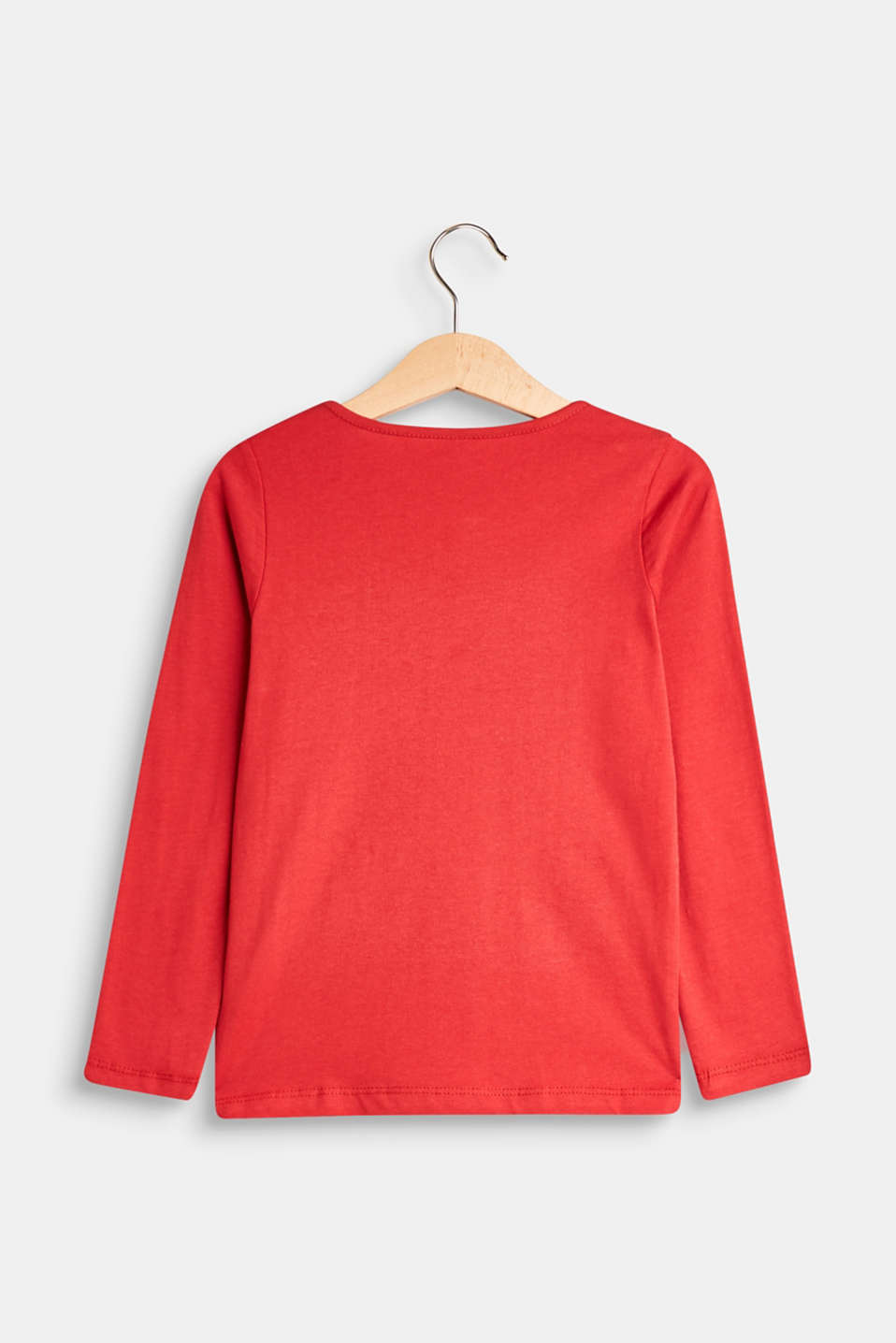 Long sleeve top with sequin motif, 100% cotton