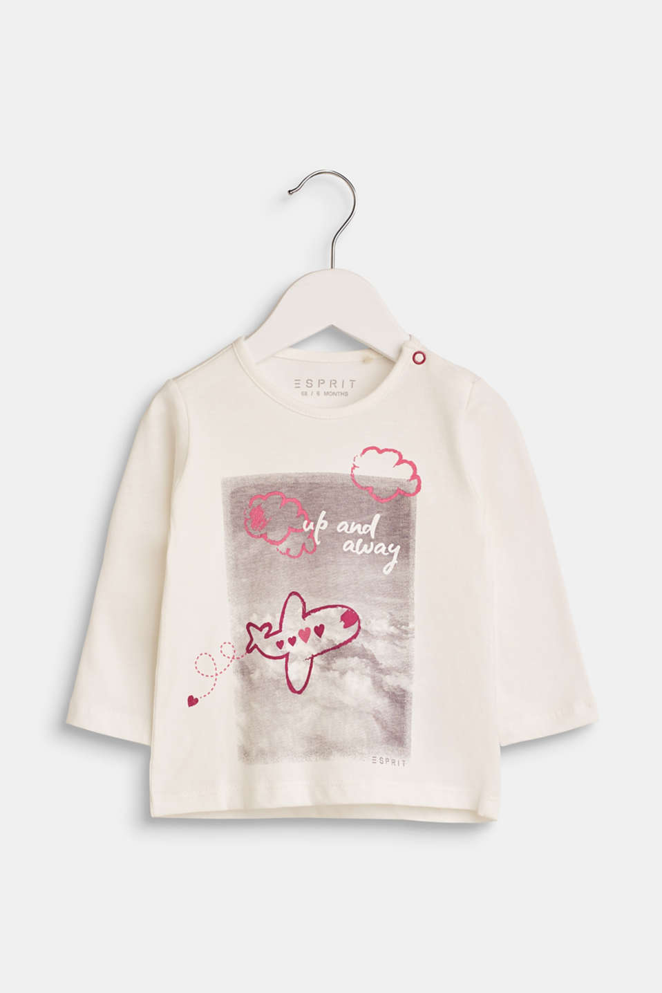 Esprit - Long sleeve top with an aeroplane print, 100% cotton