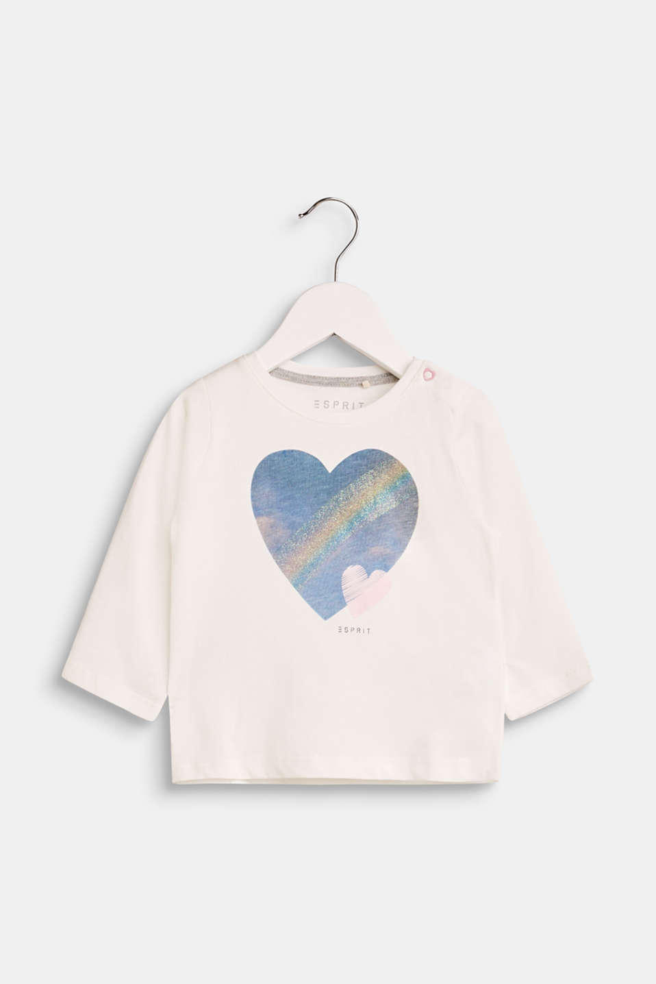 Esprit - Long sleeve top with a heart appliqué, 100% cotton
