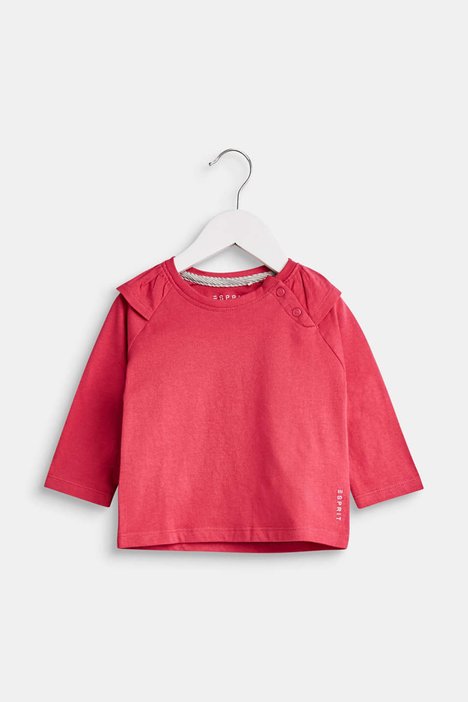 Esprit - Long sleeve top with flounces, 100% cotton