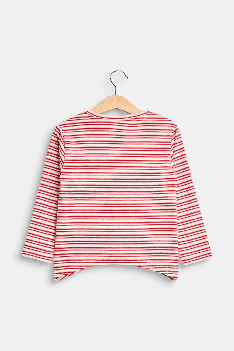 Long sleeve top with a rounded hem, 100% cotton
