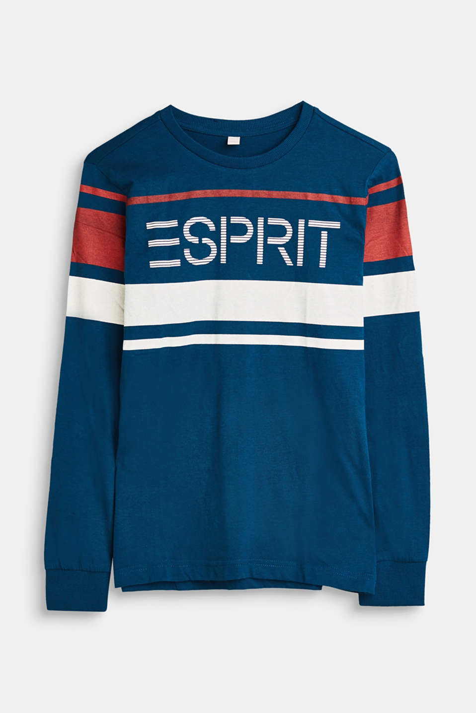 Esprit - Melange jersey long sleeve top with logo print