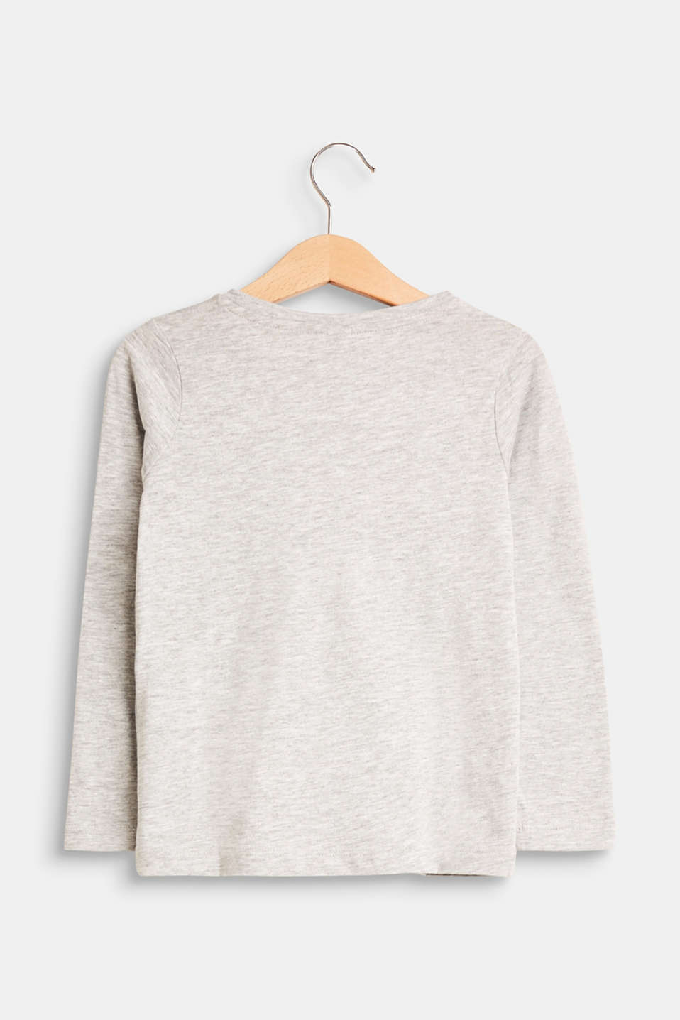 Melange long sleeve top with a glitter print