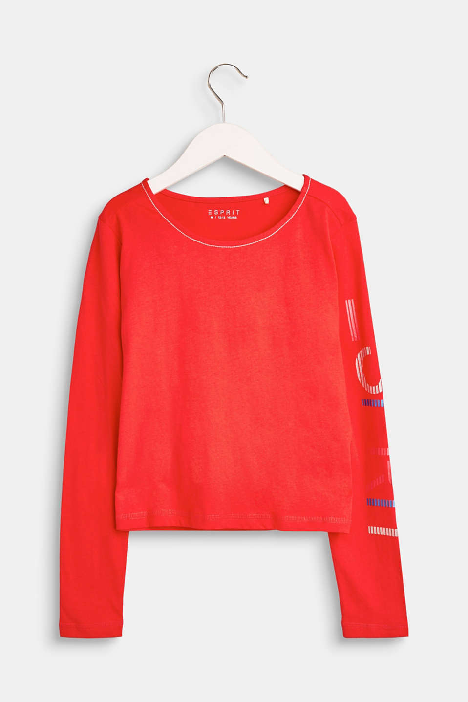 Esprit - Long sleeve top with logo print, 100% cotton