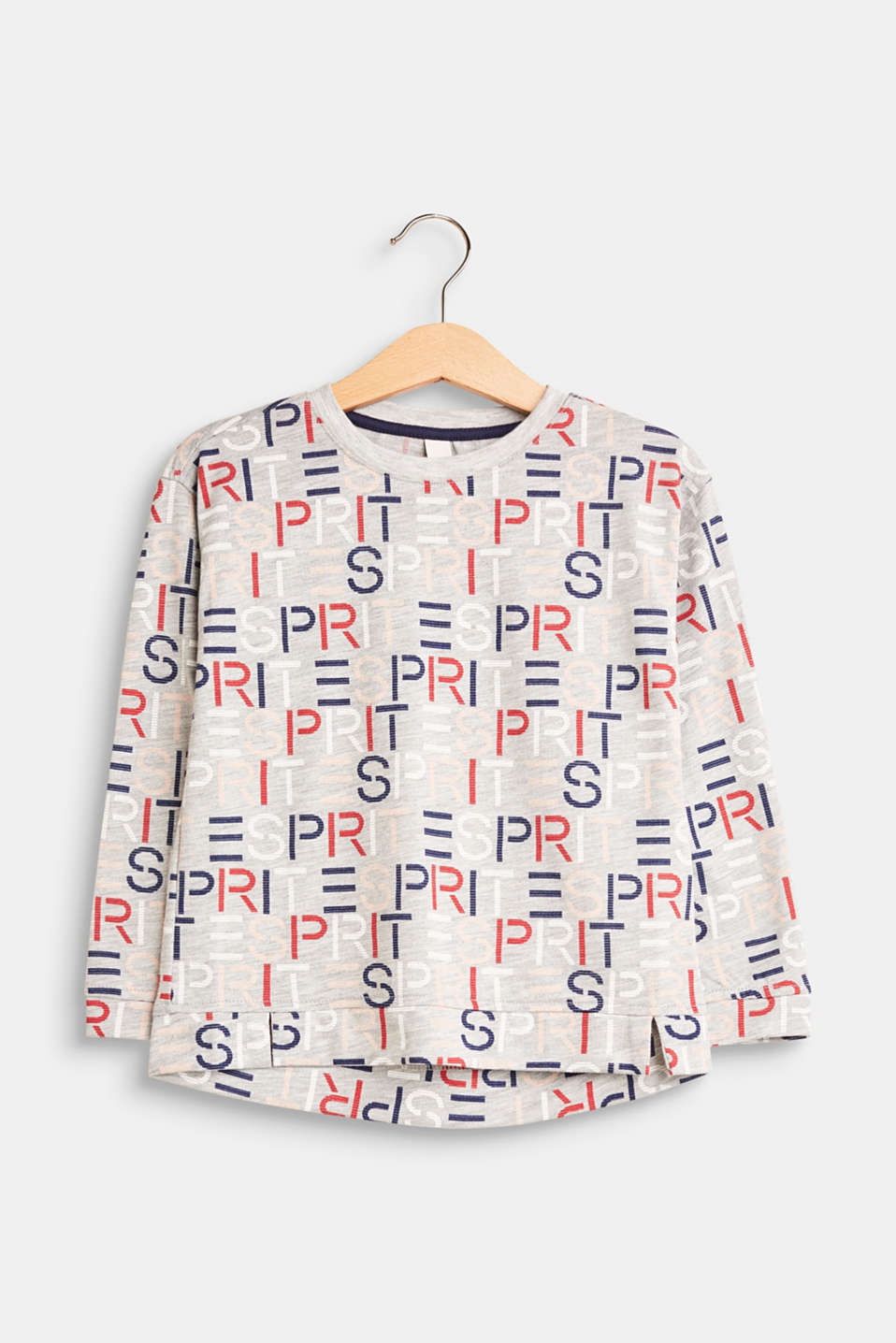 Esprit - Melange long sleeve top with a logo print