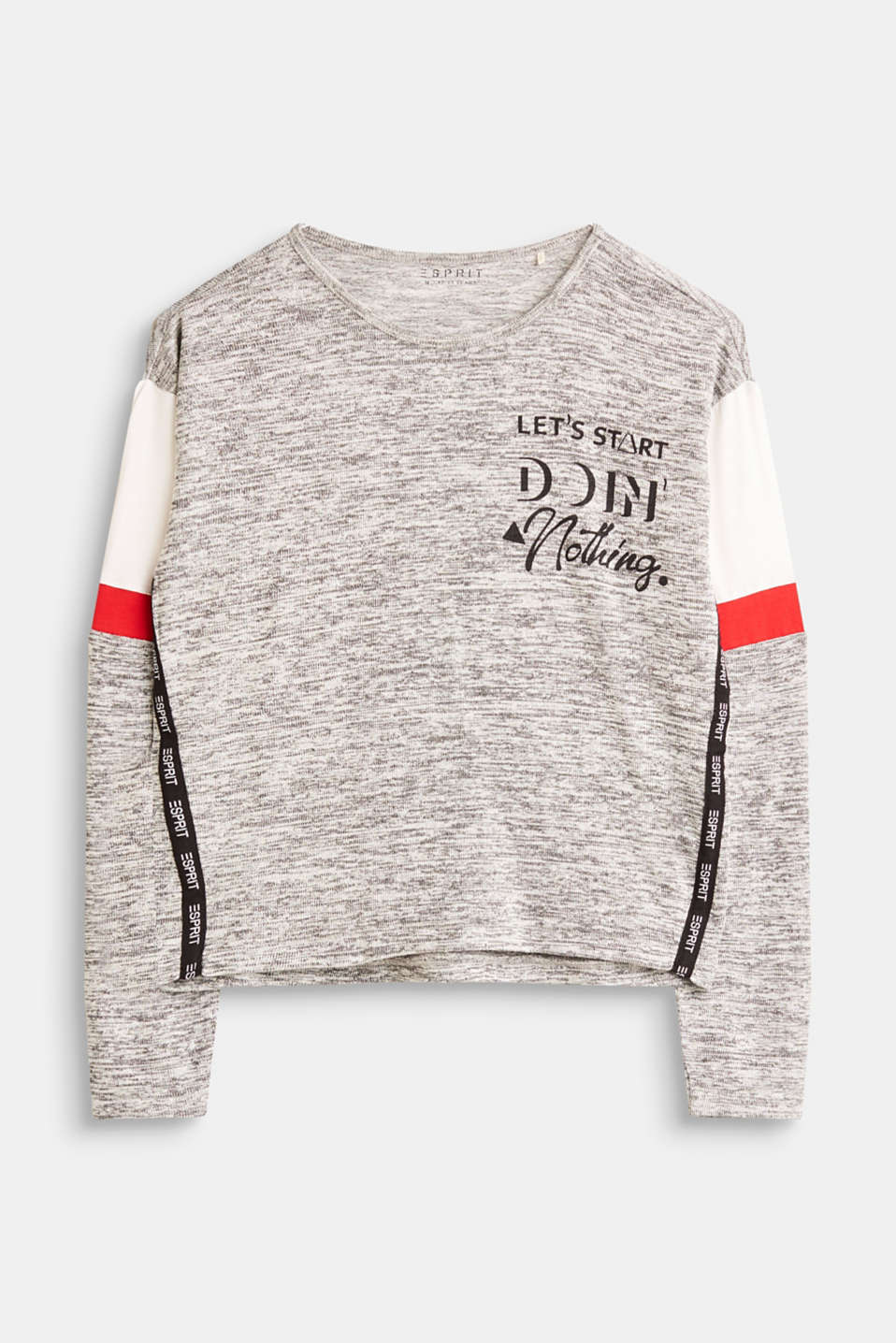 Esprit - Knit long sleeve top with jersey inserts and logo tape